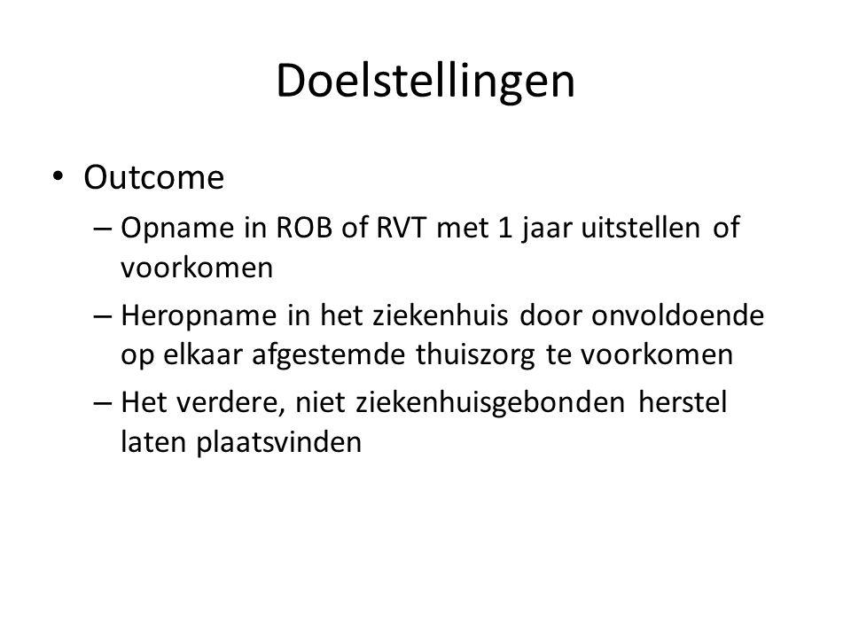 Doelstellingen Outcome – Opname in ROB of RVT met 1 jaar uitstellen of voorkomen – Heropname in het ziekenhuis door onvoldoende op elkaar afgestemde t