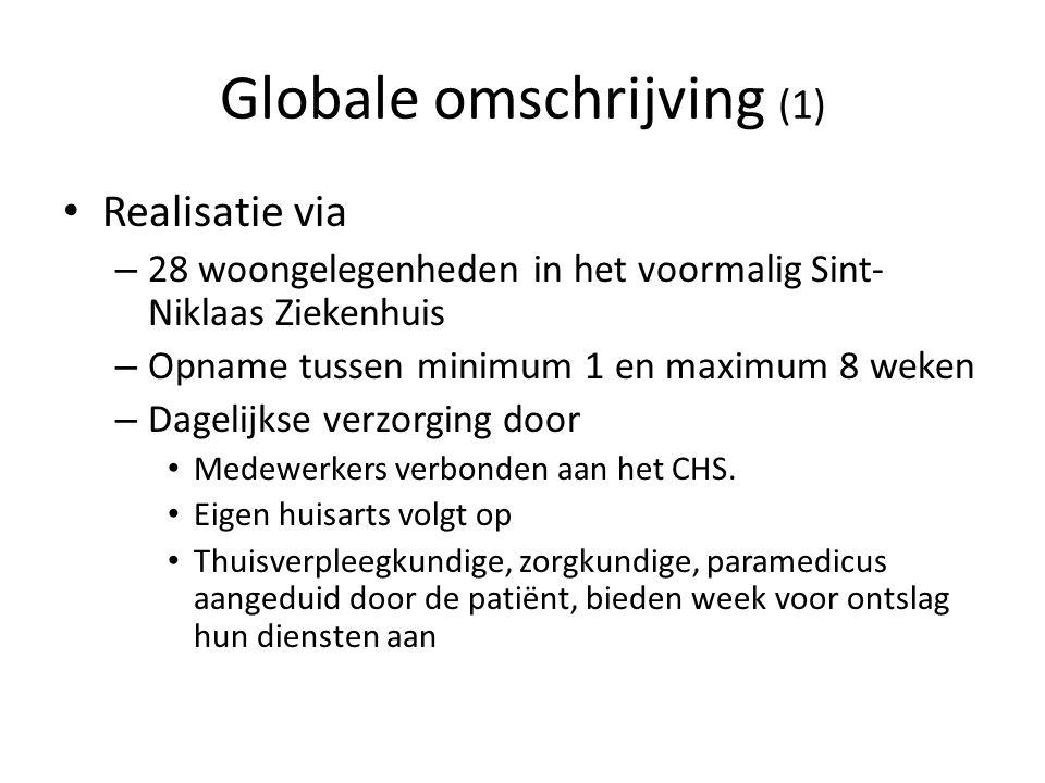 Globale omschrijving (1) Realisatie via – 28 woongelegenheden in het voormalig Sint- Niklaas Ziekenhuis – Opname tussen minimum 1 en maximum 8 weken –