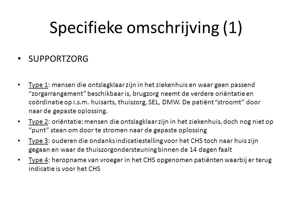 """Specifieke omschrijving (1) SUPPORTZORG Type 1: mensen die ontslagklaar zijn in het ziekenhuis en waar geen passend """"zorgarrangement"""" beschikbaar is,"""