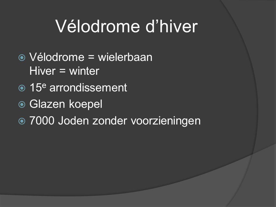 Vélodrome d'hiver  Vélodrome = wielerbaan Hiver = winter  15 e arrondissement  Glazen koepel  7000 Joden zonder voorzieningen