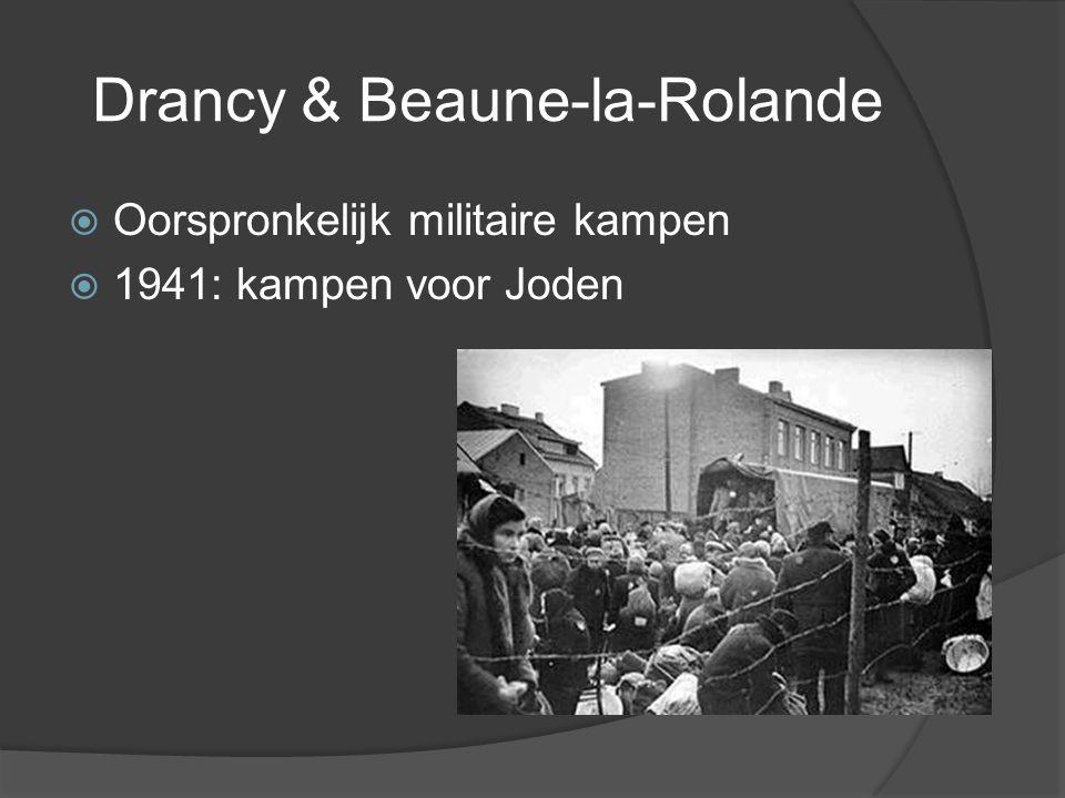 Drancy & Beaune-la-Rolande  Oorspronkelijk militaire kampen  1941: kampen voor Joden