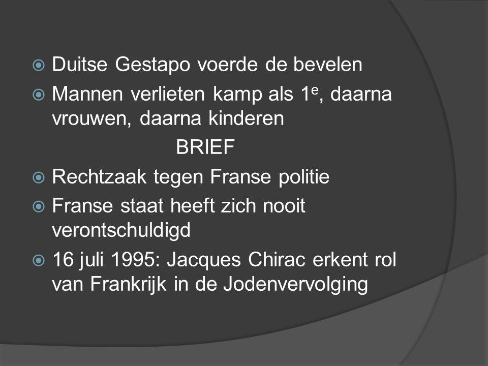  Duitse Gestapo voerde de bevelen  Mannen verlieten kamp als 1 e, daarna vrouwen, daarna kinderen BRIEF  Rechtzaak tegen Franse politie  Franse staat heeft zich nooit verontschuldigd  16 juli 1995: Jacques Chirac erkent rol van Frankrijk in de Jodenvervolging