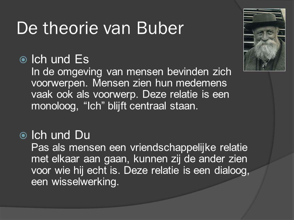 De theorie van Buber  Ich und Es In de omgeving van mensen bevinden zich voorwerpen.