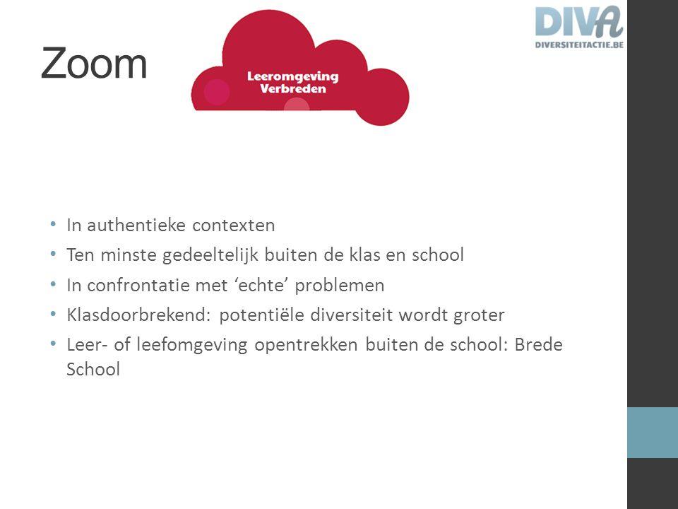 Zoom In authentieke contexten Ten minste gedeeltelijk buiten de klas en school In confrontatie met 'echte' problemen Klasdoorbrekend: potentiële diver