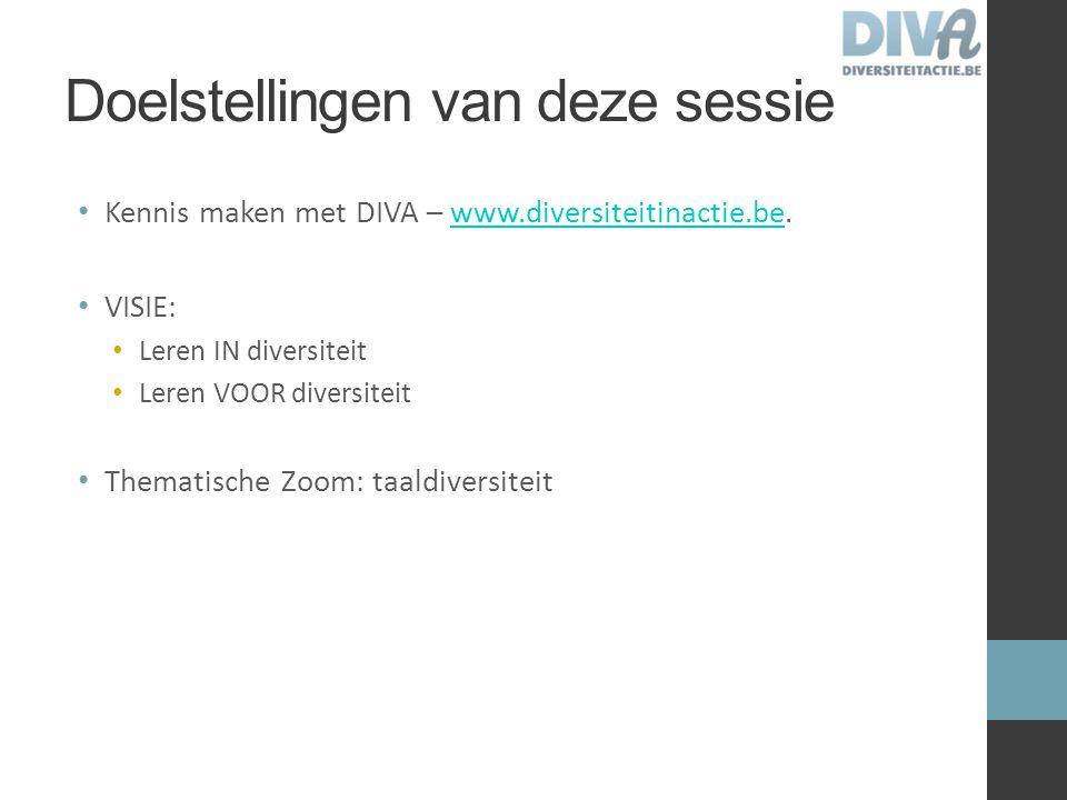Doelstellingen van deze sessie Kennis maken met DIVA – www.diversiteitinactie.be.www.diversiteitinactie.be VISIE: Leren IN diversiteit Leren VOOR dive