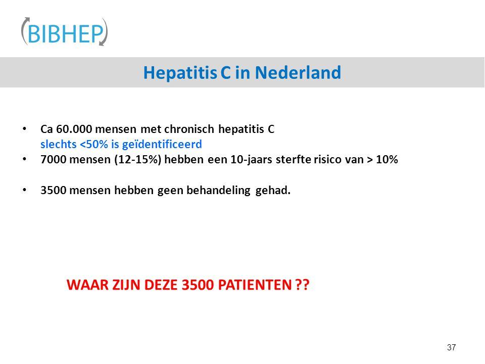 Hepatitis C in Nederland Ca 60.000 mensen met chronisch hepatitis C slechts <50% is geïdentificeerd 7000 mensen (12-15%) hebben een 10-jaars sterfte r