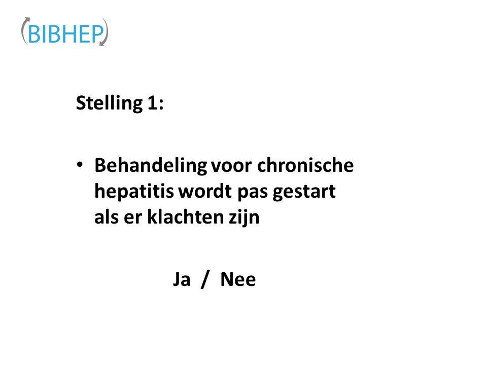 Stelling 1: Behandeling voor chronische hepatitis wordt pas gestart als er klachten zijn Ja / Nee