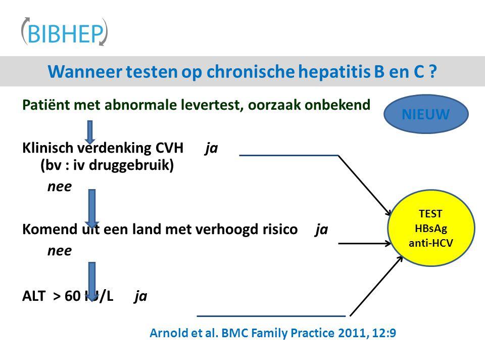 Wanneer testen op chronische hepatitis B en C ? Patiënt met abnormale levertest, oorzaak onbekend Klinisch verdenking CVH ja (bv : iv druggebruik) nee