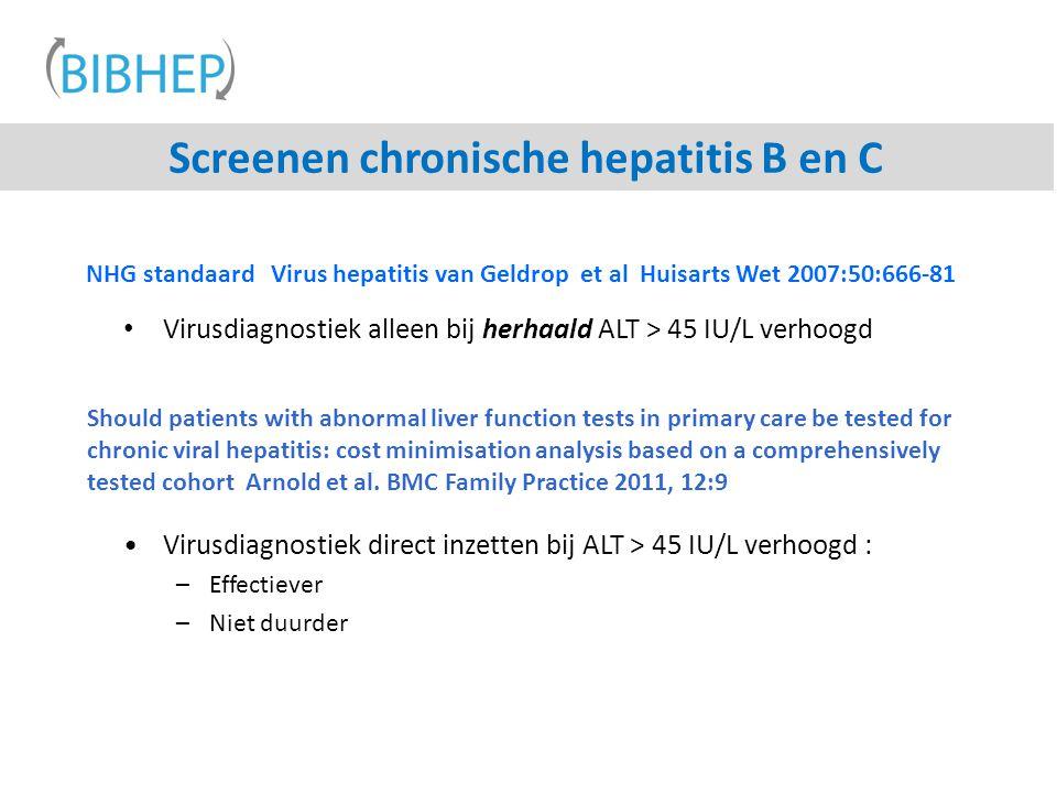 Screenen chronische hepatitis B en C NHG standaard Virus hepatitis van Geldrop et al Huisarts Wet 2007:50:666-81 Virusdiagnostiek alleen bij herhaald