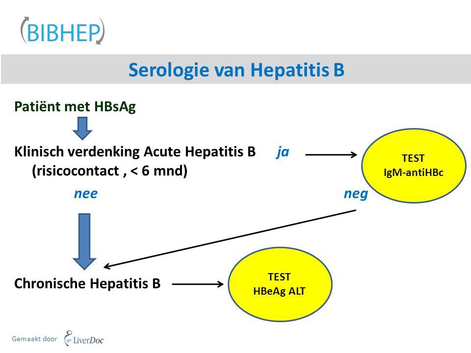 Serologie van Hepatitis B Gemaakt door Patiënt met HBsAg Klinisch verdenking Acute Hepatitis B ja (risicocontact, < 6 mnd) neeneg Chronische Hepatitis B TEST IgM-antiHBc TEST HBeAg ALT