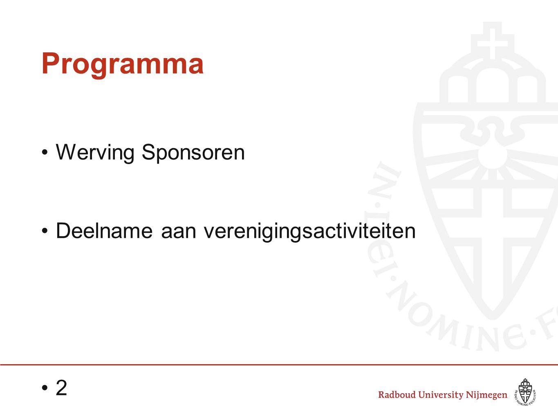 Programma Werving Sponsoren Deelname aan verenigingsactiviteiten 2