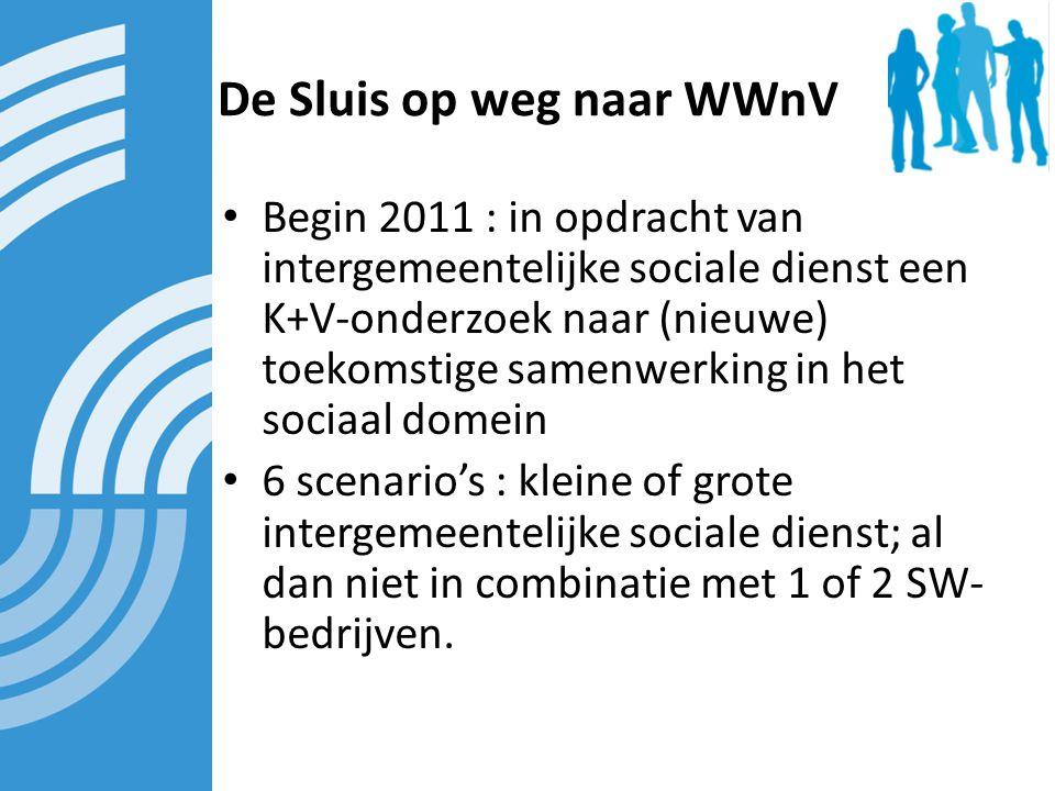 De Sluis op weg naar WWnV Begin 2011 : in opdracht van intergemeentelijke sociale dienst een K+V-onderzoek naar (nieuwe) toekomstige samenwerking in het sociaal domein 6 scenario's : kleine of grote intergemeentelijke sociale dienst; al dan niet in combinatie met 1 of 2 SW- bedrijven.