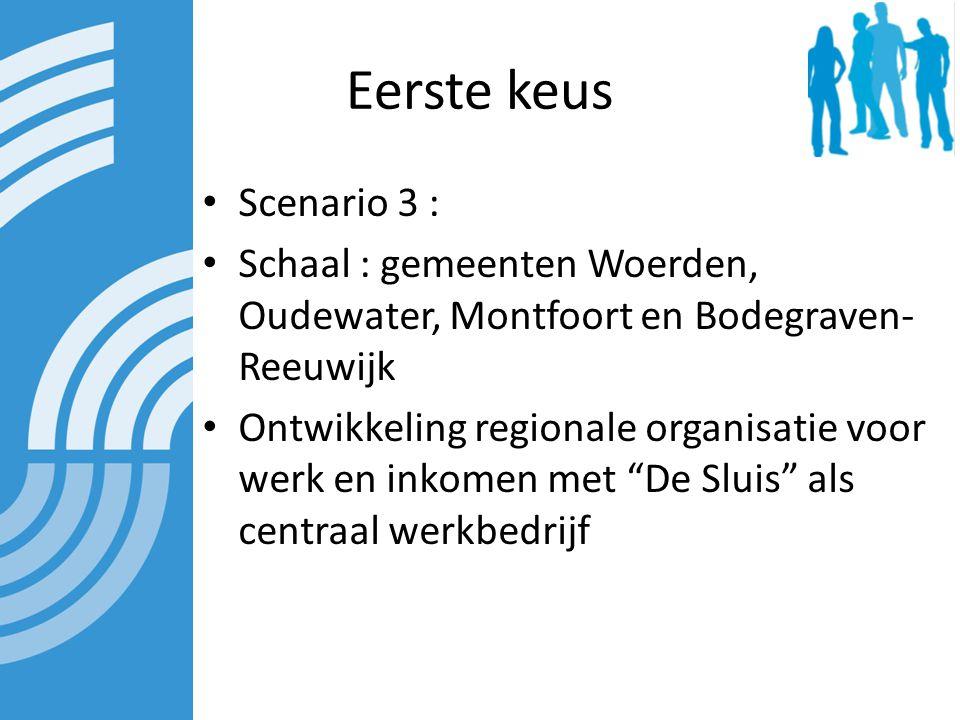 Eerste keus Scenario 3 : Schaal : gemeenten Woerden, Oudewater, Montfoort en Bodegraven- Reeuwijk Ontwikkeling regionale organisatie voor werk en inkomen met De Sluis als centraal werkbedrijf
