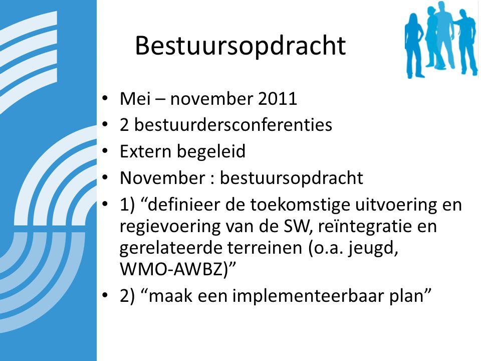 Bestuursopdracht Mei – november 2011 2 bestuurdersconferenties Extern begeleid November : bestuursopdracht 1) definieer de toekomstige uitvoering en regievoering van de SW, reïntegratie en gerelateerde terreinen (o.a.