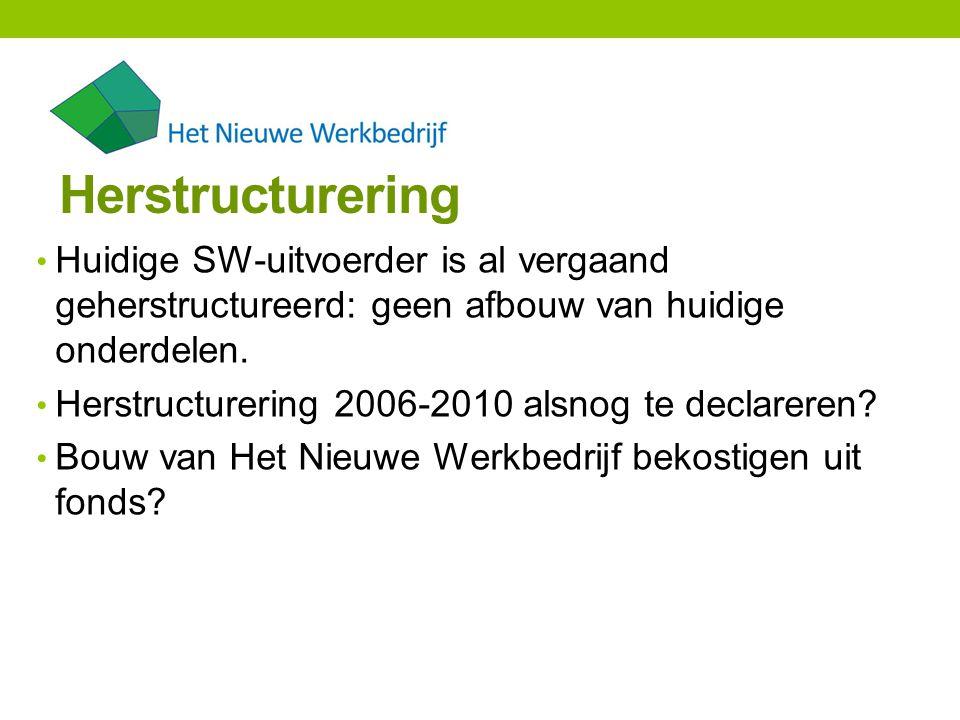 Herstructurering Huidige SW-uitvoerder is al vergaand geherstructureerd: geen afbouw van huidige onderdelen.