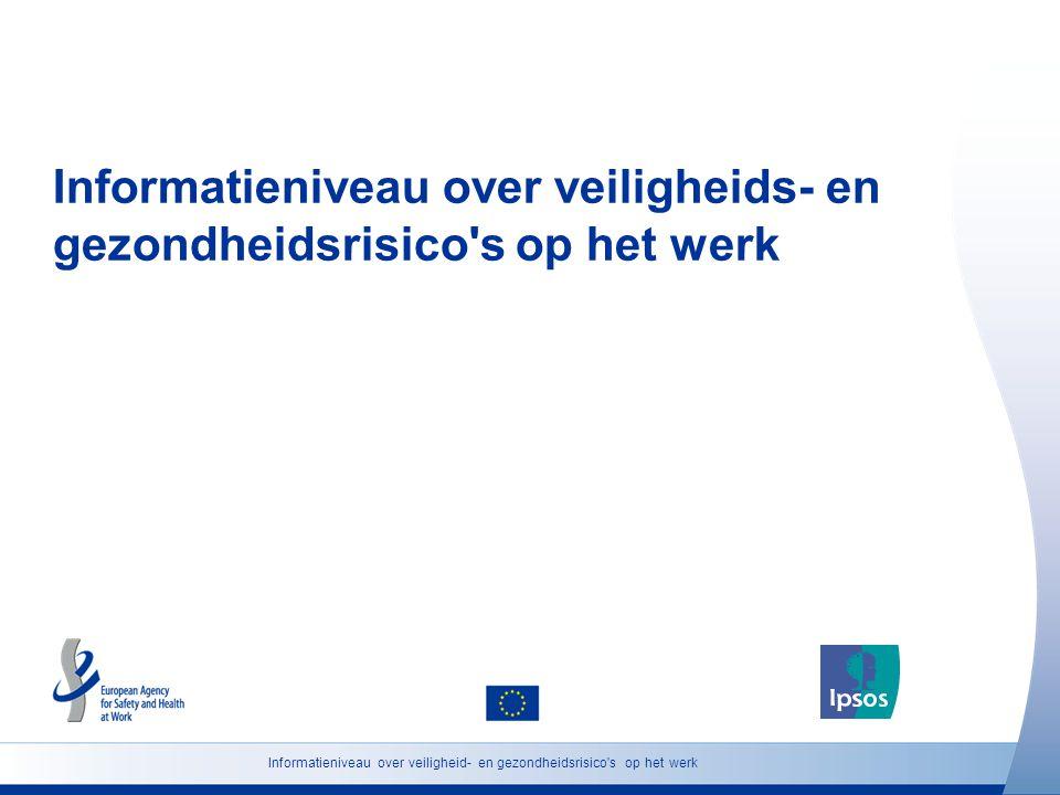 Informatieniveau over veiligheids- en gezondheidsrisico s op het werk Informatieniveau over veiligheid- en gezondheidsrisico s op het werk