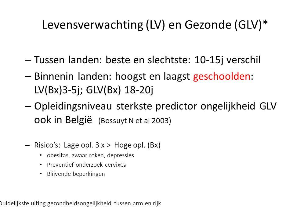 Levensverwachting (LV) en Gezonde (GLV)* – Tussen landen: beste en slechtste: 10-15j verschil – Binnenin landen: hoogst en laagst geschoolden: LV(Bx)3-5j; GLV(Bx) 18-20j – Opleidingsniveau sterkste predictor ongelijkheid GLV ook in België (Bossuyt N et al 2003) – Risico's: Lage opl.