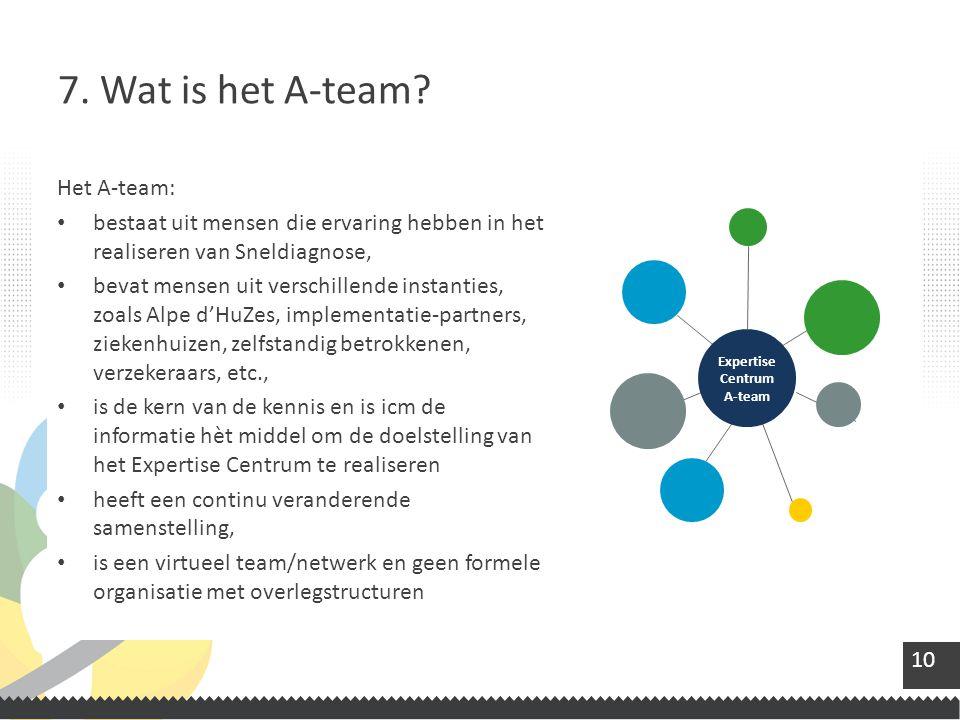 10 Het A-team: bestaat uit mensen die ervaring hebben in het realiseren van Sneldiagnose, bevat mensen uit verschillende instanties, zoals Alpe d'HuZes, implementatie-partners, ziekenhuizen, zelfstandig betrokkenen, verzekeraars, etc., is de kern van de kennis en is icm de informatie hèt middel om de doelstelling van het Expertise Centrum te realiseren heeft een continu veranderende samenstelling, is een virtueel team/netwerk en geen formele organisatie met overlegstructuren 7.