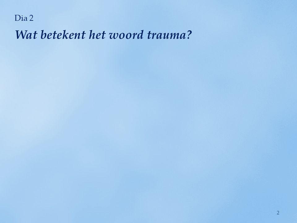 Dia 13 gevoel verdoofd, afgesloten of afgescheiden van het normale leven te zijn; terugdeinzen voor activiteiten en relaties; vermijden van dingen die herinneringen aan het trauma oproepen.