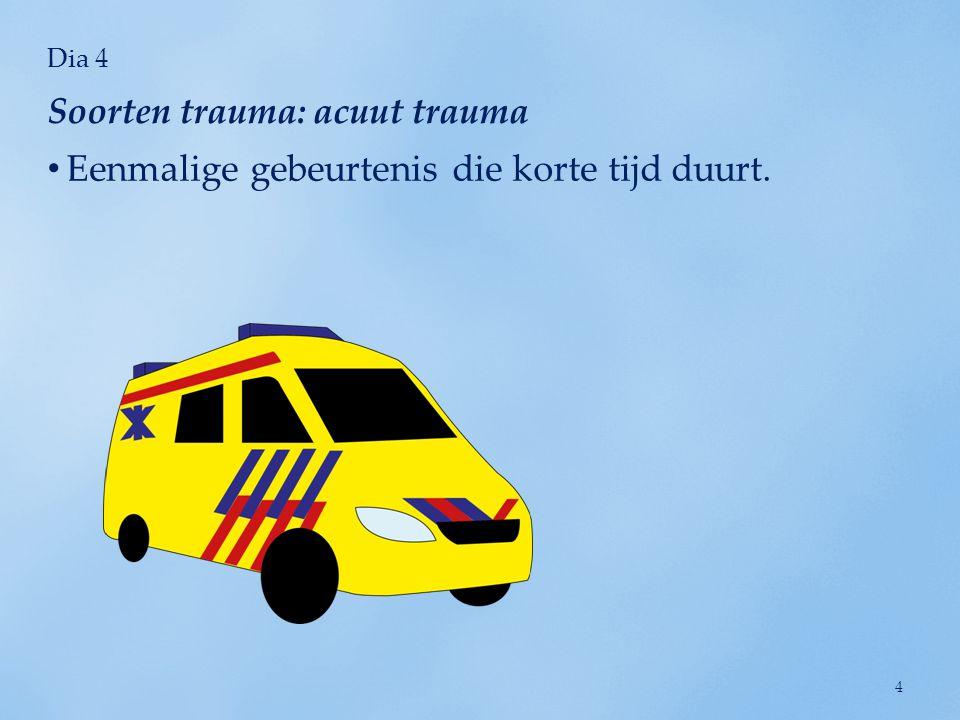 Dia 5 Ervaring van meerdere traumatische gebeurtenissen. Soorten trauma: chronisch trauma 5