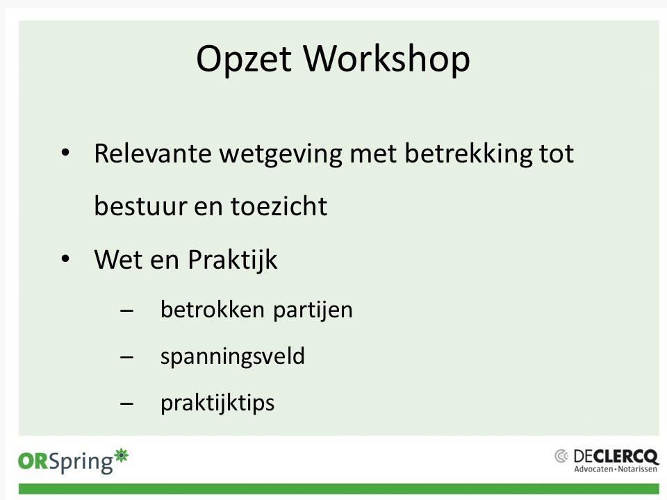 Opzet Workshop Relevante wetgeving met betrekking tot bestuur en toezicht Wet en Praktijk ̶betrokken partijen ̶spanningsveld ̶praktijktips