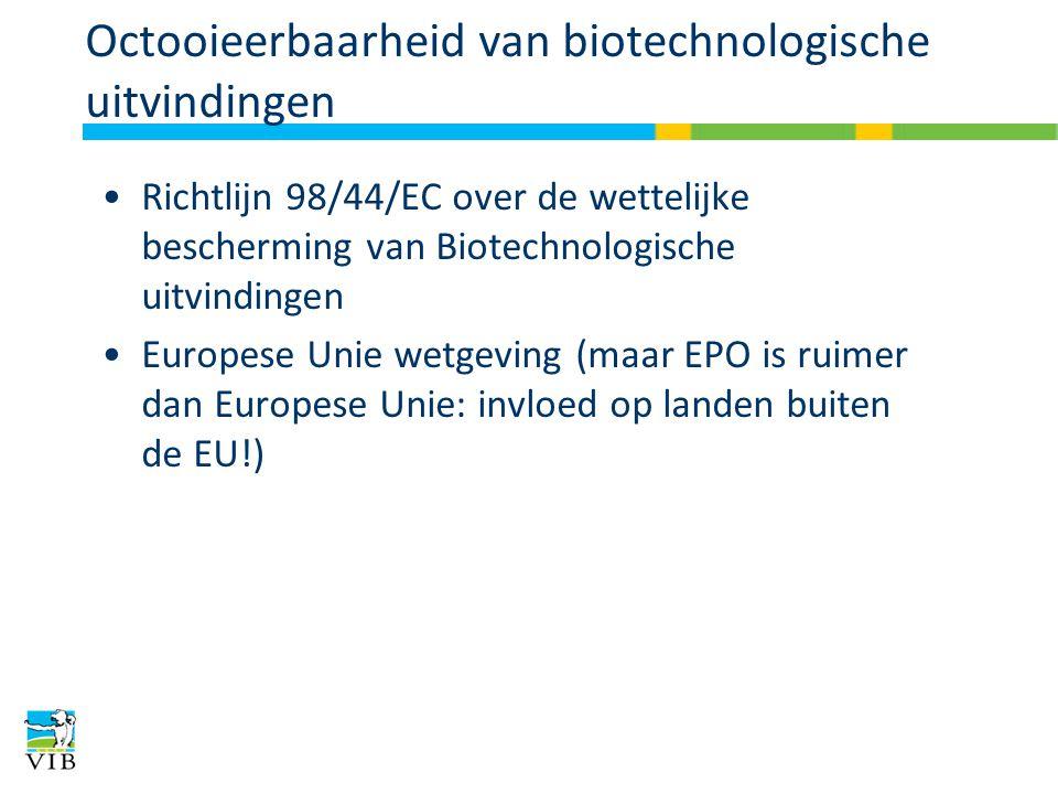 Octooieerbaarheid van biotechnologische uitvindingen Richtlijn 98/44/EC over de wettelijke bescherming van Biotechnologische uitvindingen Europese Unie wetgeving (maar EPO is ruimer dan Europese Unie: invloed op landen buiten de EU!)