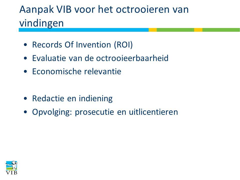 Aanpak VIB voor het octrooieren van vindingen Records Of Invention (ROI) Evaluatie van de octrooieerbaarheid Economische relevantie Redactie en indiening Opvolging: prosecutie en uitlicentieren