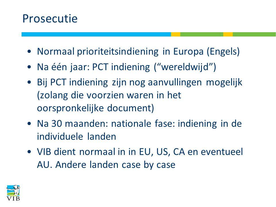 Prosecutie Normaal prioriteitsindiening in Europa (Engels) Na één jaar: PCT indiening ( wereldwijd ) Bij PCT indiening zijn nog aanvullingen mogelijk (zolang die voorzien waren in het oorspronkelijke document) Na 30 maanden: nationale fase: indiening in de individuele landen VIB dient normaal in in EU, US, CA en eventueel AU.