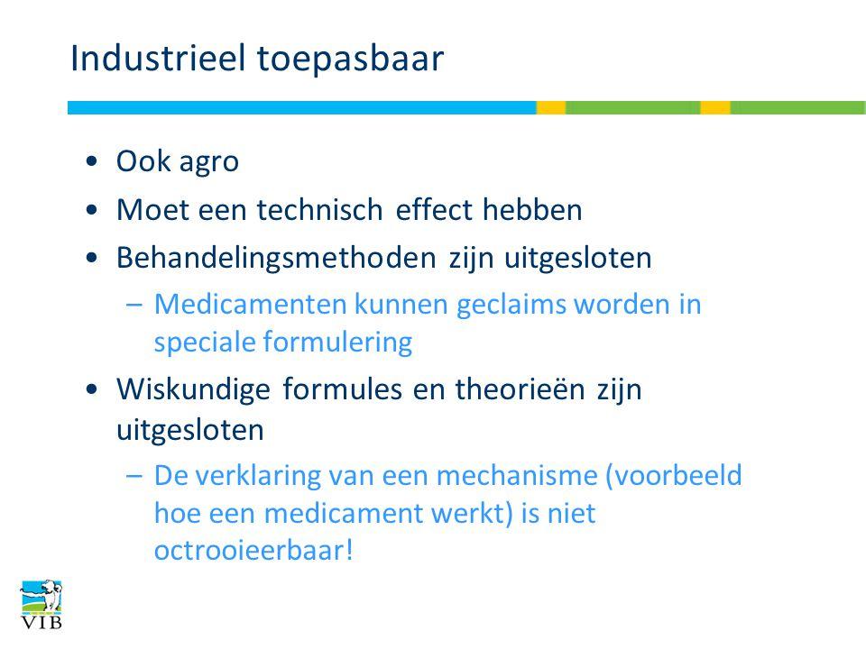 Industrieel toepasbaar Ook agro Moet een technisch effect hebben Behandelingsmethoden zijn uitgesloten –Medicamenten kunnen geclaims worden in special
