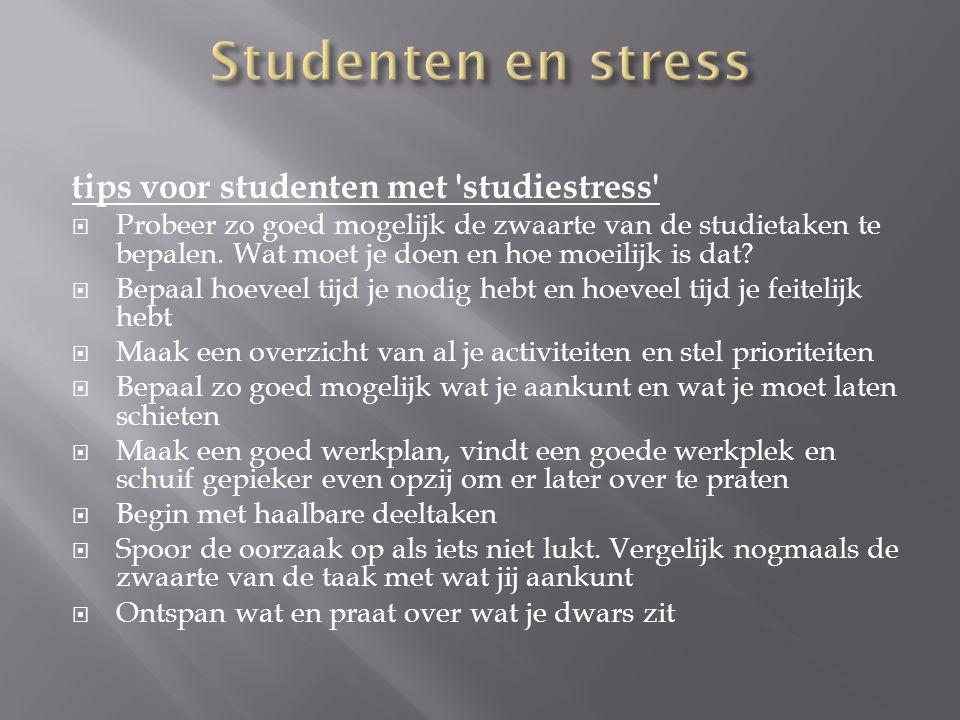 tips voor studenten met 'studiestress'  Probeer zo goed mogelijk de zwaarte van de studietaken te bepalen. Wat moet je doen en hoe moeilijk is dat? 