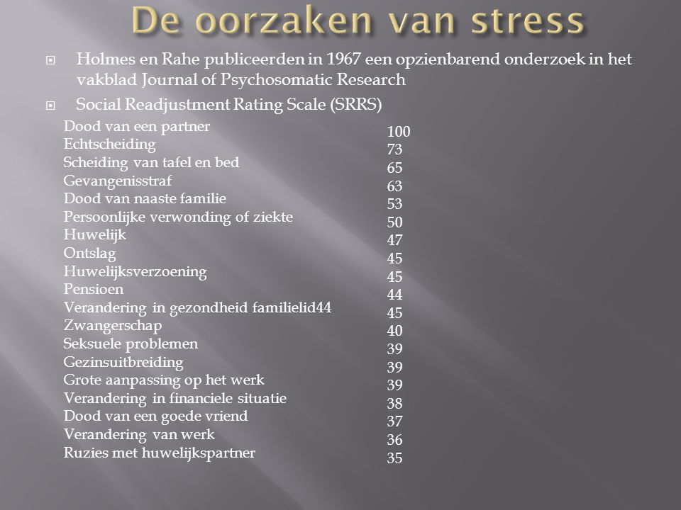 Holmes en Rahe publiceerden in 1967 een opzienbarend onderzoek in het vakblad Journal of Psychosomatic Research  Social Readjustment Rating Scale (