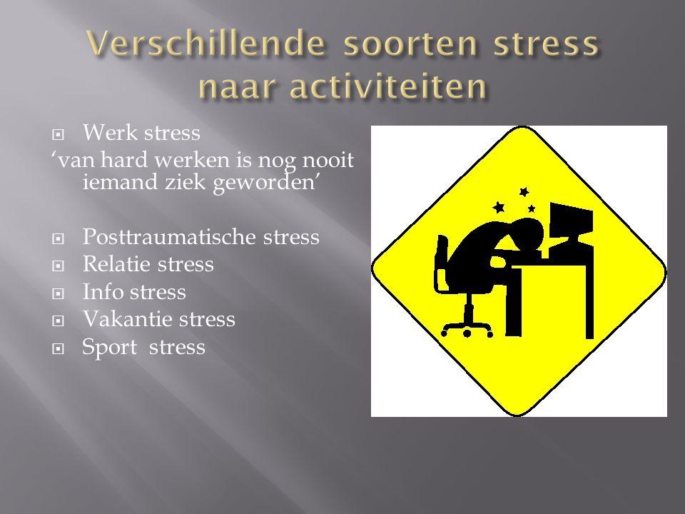  Werk stress 'van hard werken is nog nooit iemand ziek geworden'  Posttraumatische stress  Relatie stress  Info stress  Vakantie stress  Sport s