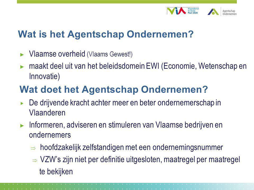 Wat is het Agentschap Ondernemen? ► Vlaamse overheid (Vlaams Gewest!) ► maakt deel uit van het beleidsdomein EWI (Economie, Wetenschap en Innovatie) W
