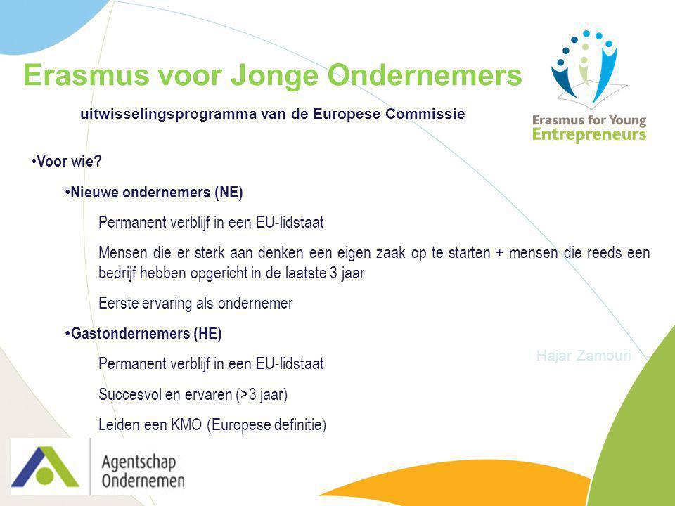 Erasmus voor Jonge Ondernemers uitwisselingsprogramma van de Europese Commissie Hajar Zamouri Voor wie? Nieuwe ondernemers (NE) Permanent verblijf in