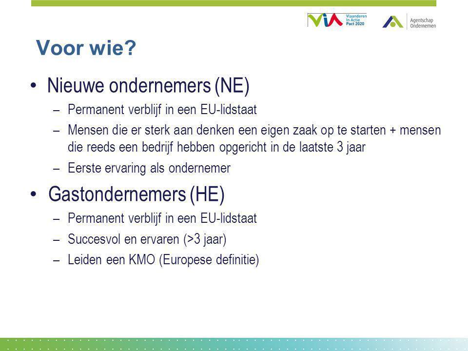 Voor wie? Nieuwe ondernemers (NE) –Permanent verblijf in een EU-lidstaat –Mensen die er sterk aan denken een eigen zaak op te starten + mensen die ree