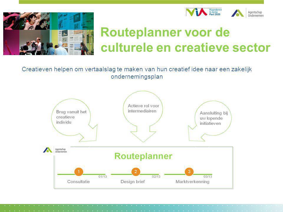 Routeplanner voor de culturele en creatieve sector Creatieven helpen om vertaalslag te maken van hun creatief idee naar een zakelijk ondernemingsplan