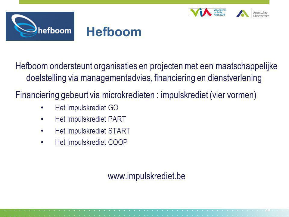 26 Hefboom Hefboom ondersteunt organisaties en projecten met een maatschappelijke doelstelling via managementadvies, financiering en dienstverlening F