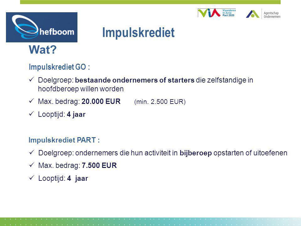 Impulskrediet Wat? Impulskrediet GO : Doelgroep: bestaande ondernemers of starters die zelfstandige in hoofdberoep willen worden Max. bedrag: 20.000 E