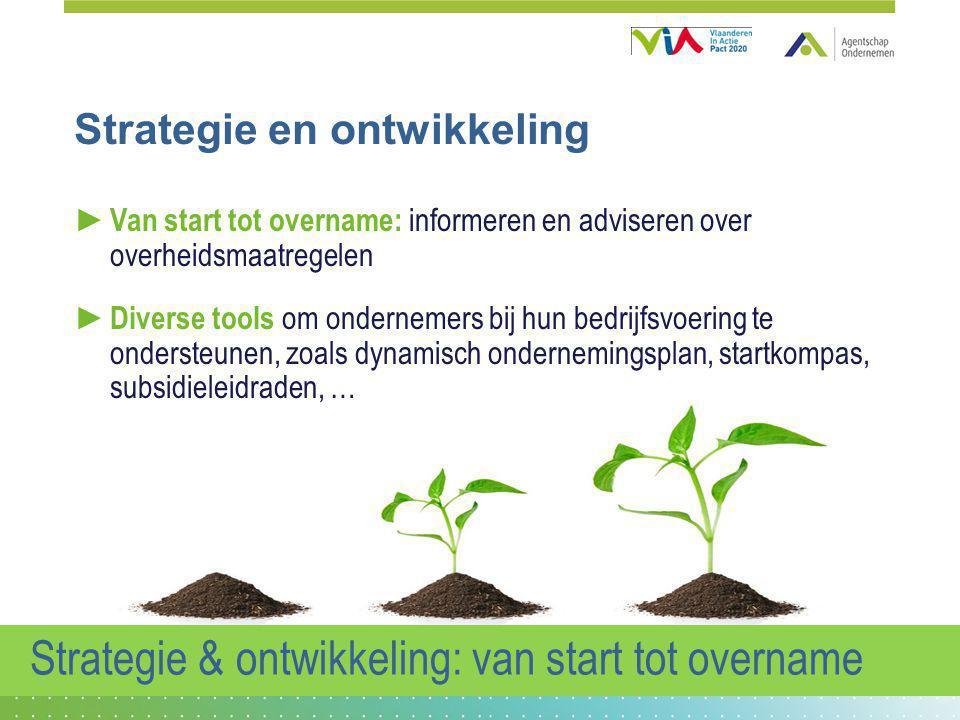 Strategie en ontwikkeling ► Van start tot overname: informeren en adviseren over overheidsmaatregelen ► Diverse tools om ondernemers bij hun bedrijfsv
