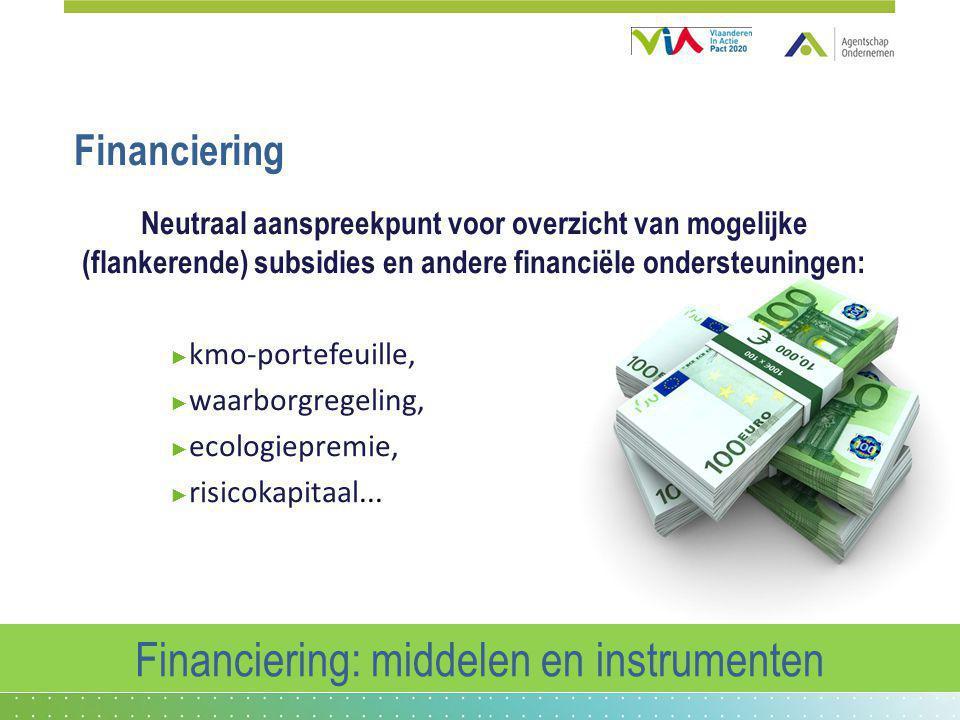 Financiering Neutraal aanspreekpunt voor overzicht van mogelijke (flankerende) subsidies en andere financiële ondersteuningen: ► kmo-portefeuille, ► w