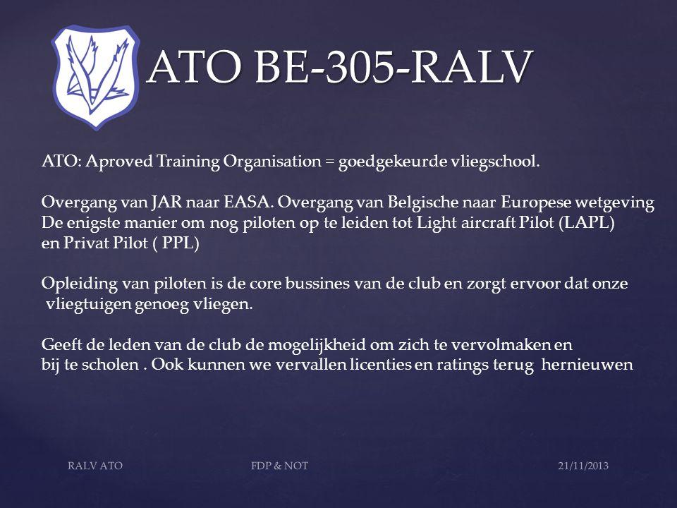 ATO BE-305-RALV ATO BE-305-RALV ATO: Aproved Training Organisation = goedgekeurde vliegschool. Overgang van JAR naar EASA. Overgang van Belgische naar