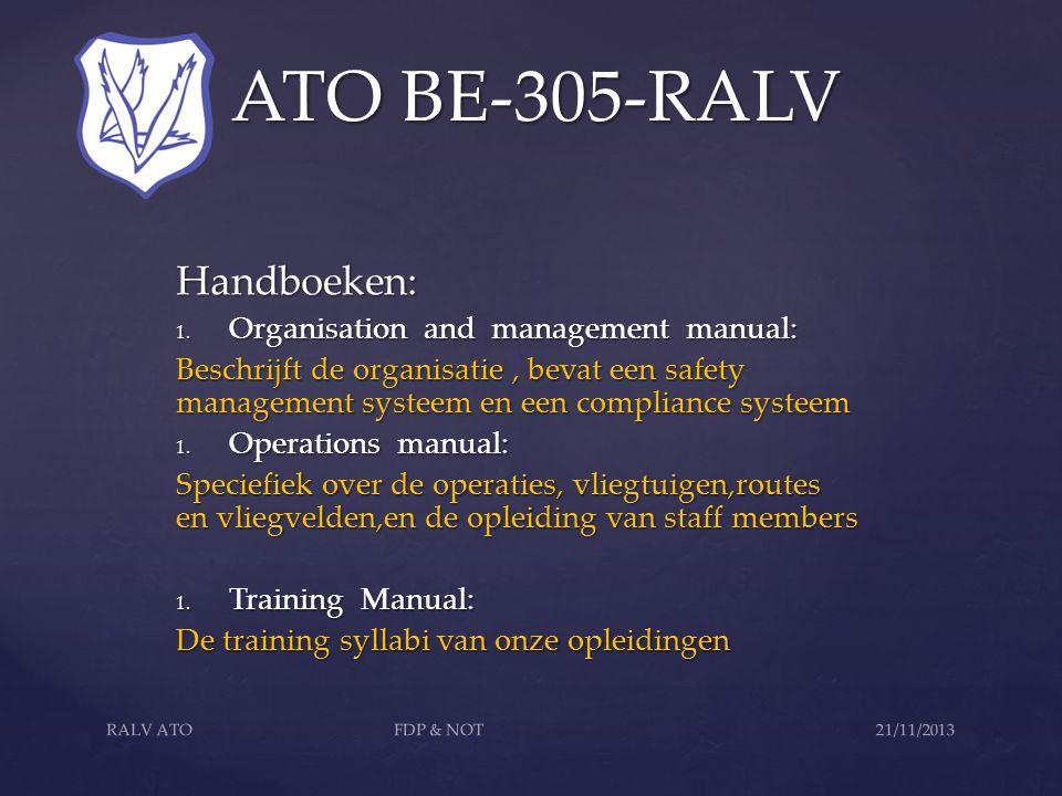 ATO BE-305-RALV ATO BE-305-RALV Let op: ATO is niet de vliegclub, handboeken en procedures enkel de mensen in opleiding!.