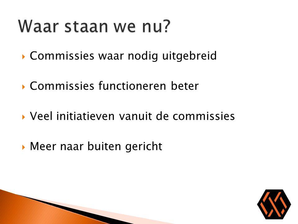  Commissies waar nodig uitgebreid  Commissies functioneren beter  Veel initiatieven vanuit de commissies  Meer naar buiten gericht
