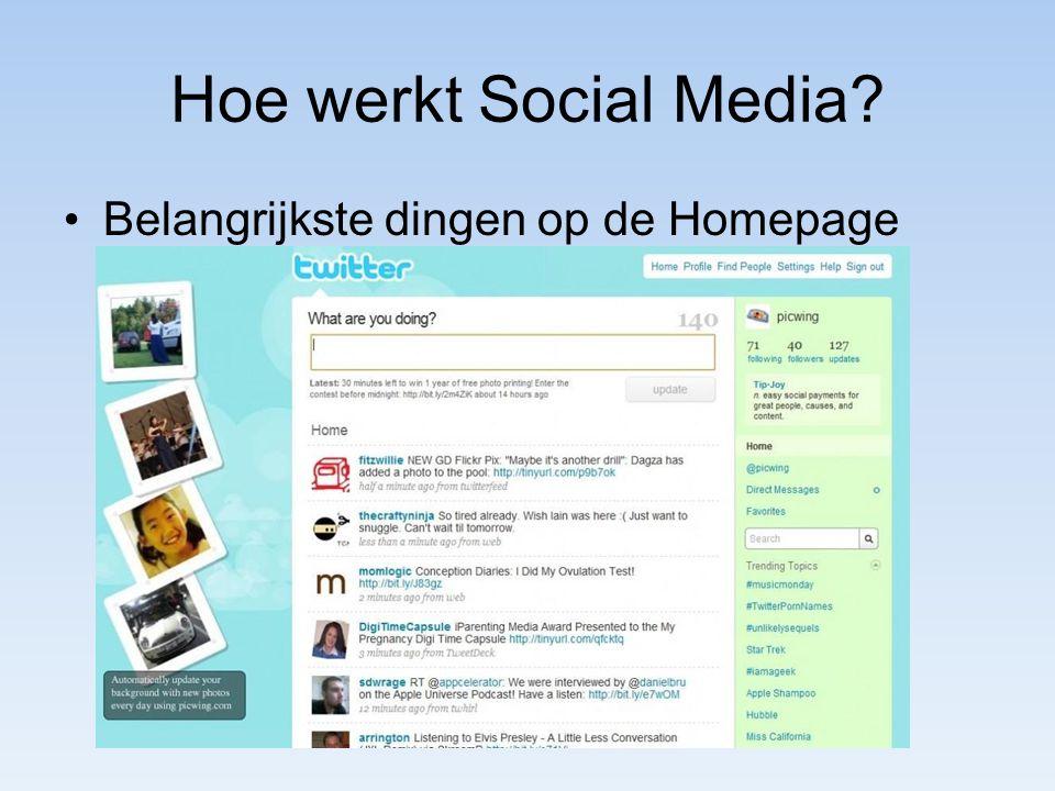 Hoe werkt Social Media? Belangrijkste dingen op de Homepage