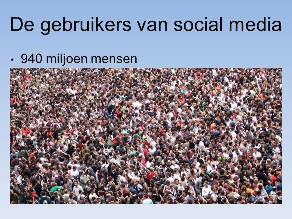 De gebruikers van social media 940 miljoen mensen