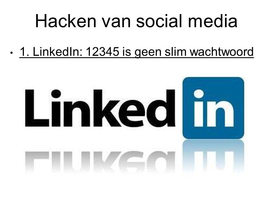Hacken van social media 1. LinkedIn: 12345 is geen slim wachtwoord