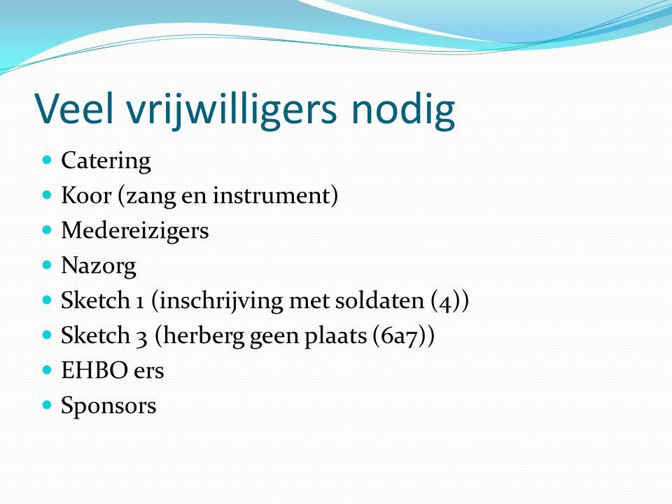 Veel vrijwilligers nodig Catering Koor (zang en instrument) Medereizigers Nazorg Sketch 1 (inschrijving met soldaten (4)) Sketch 3 (herberg geen plaats (6a7)) EHBO ers Sponsors