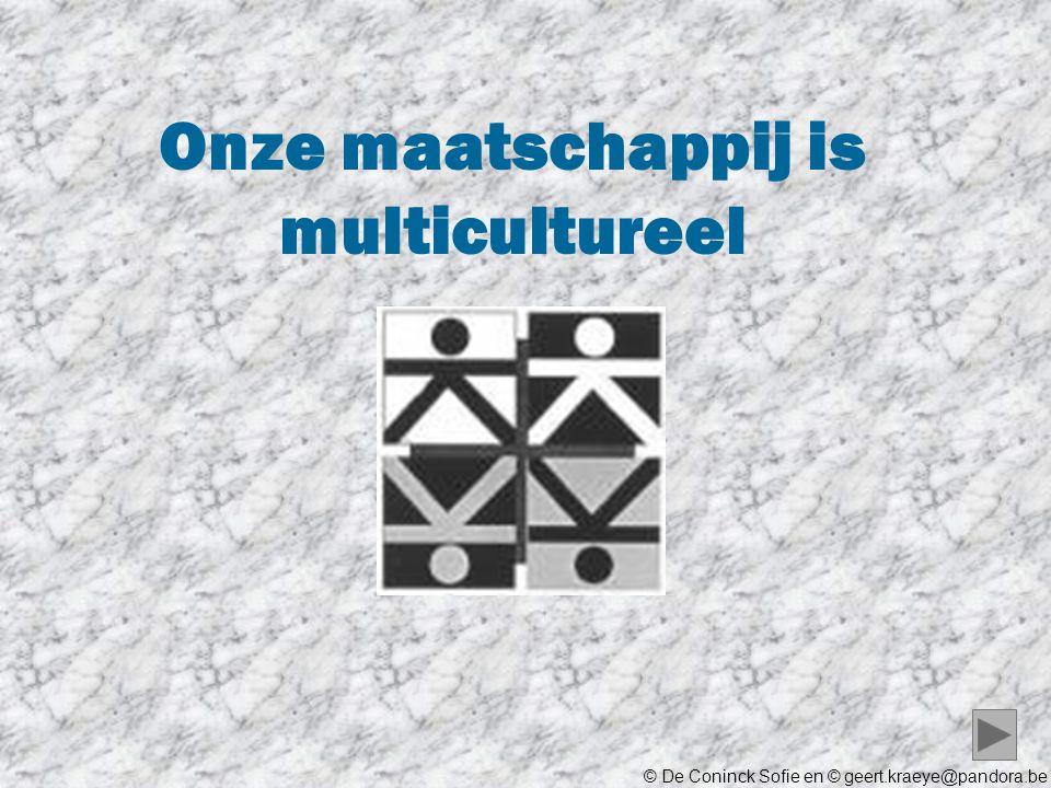 © De Coninck Sofie en © geert.kraeye@pandora.be Onze maatschappij is multicultureel