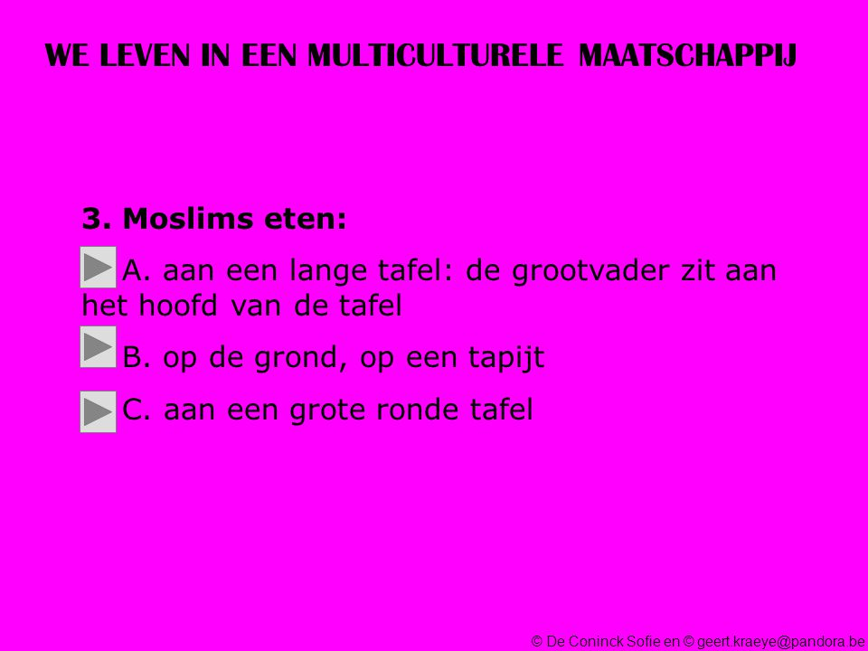 © De Coninck Sofie en © geert.kraeye@pandora.be WE LEVEN IN EEN MULTICULTURELE MAATSCHAPPIJ 3.
