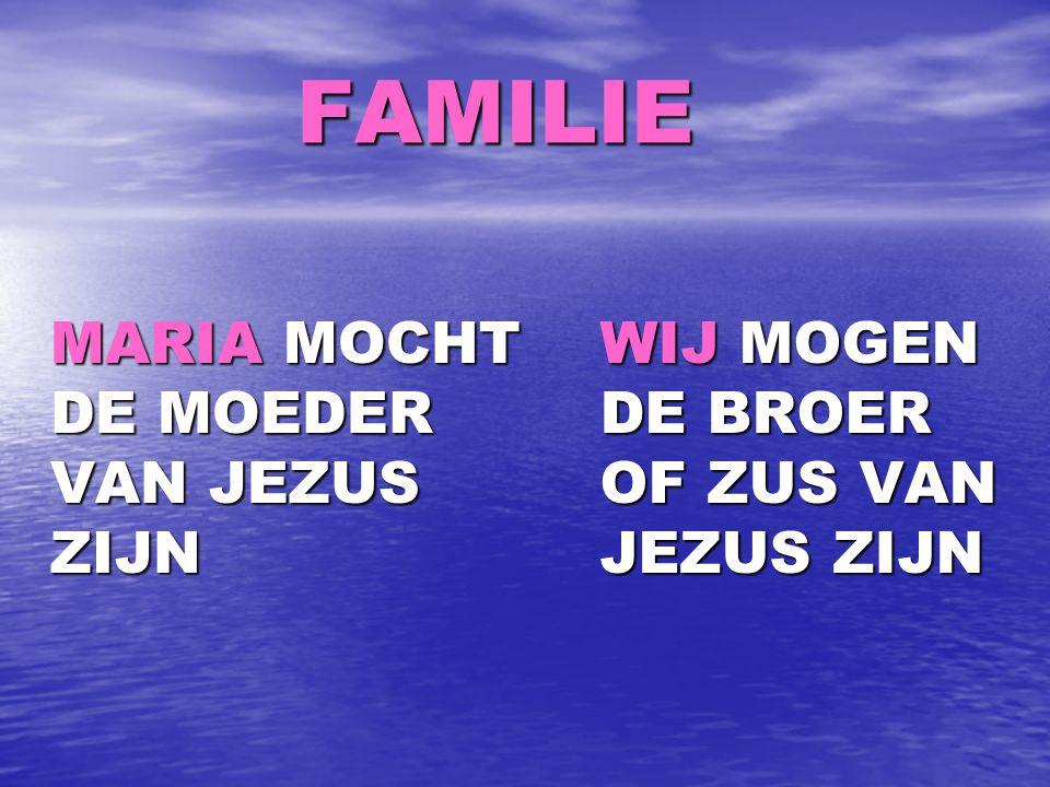 FAMILIE FAMILIE MARIA MOCHT DE MOEDER VAN JEZUS ZIJN MARIA MOCHT DE MOEDER VAN JEZUS ZIJN WIJ MOGEN DE BROER OF ZUS VAN JEZUS ZIJN WIJ MOGEN DE BROER OF ZUS VAN JEZUS ZIJN